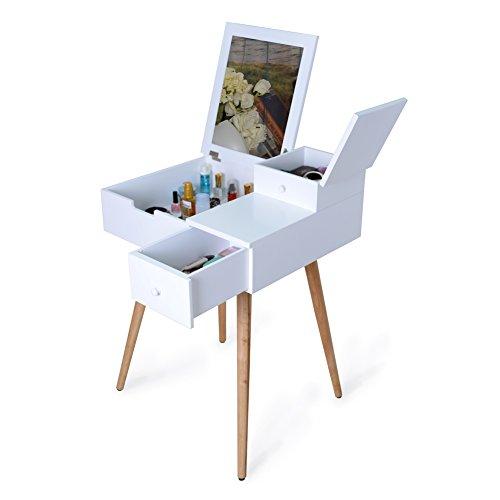 Facilehome Vanity - Mesa de Maquillaje con Espejo y 2 cajones, Color Blanco