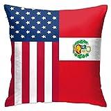 DRXX Funda de Almohada Cuadrada Suave roja con Bandera Americana de Perú, Funda de cojín, sofá Decorativo para el hogar, 45X45cm, Ultra cómodo