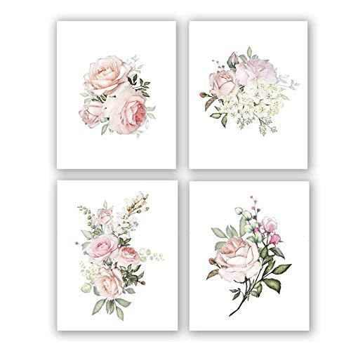 4 Set - Pink rose Canvas Painting Flower Wall Art,Modern Wall Decor Bathroom...