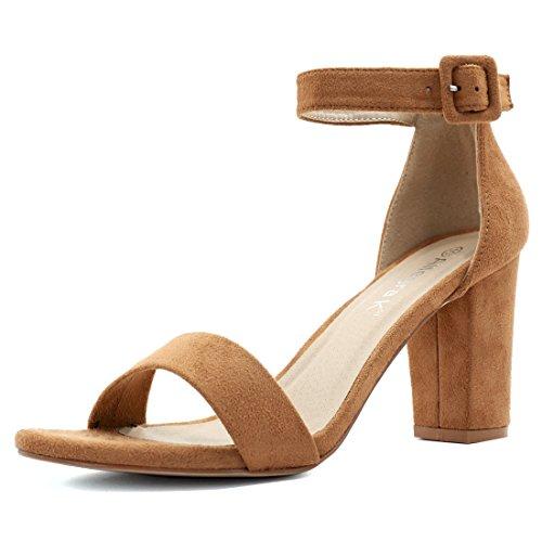 Allegra K Damen-Sandalen mit Knöchelriemchen und kompaktem Absatz., Braun - camel - Größe: 7 UK/9 US