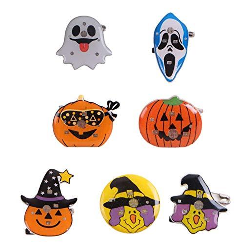 LQH Clips de Halloween Flash LED Broche de Dibujos Animados de Calabaza Bat búho Juguetes de Peluche Badge