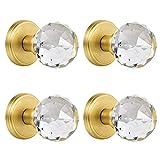 CLCTK Glass Dummy Door Knobs Interior, Inactive Crystal Half-Dummy Door Knobs for Closet/Bifold, Satin Brass (4 Pack)