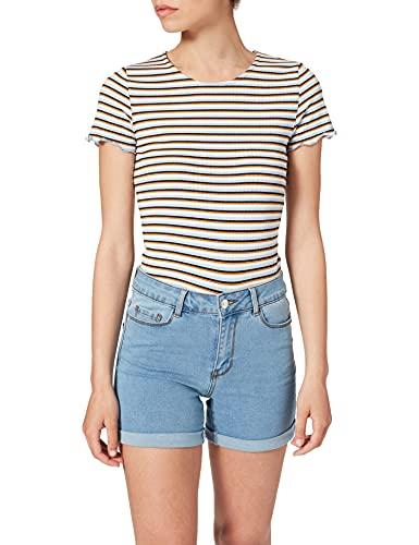Vero Moda NOS Damen Vmhot Seven Nw DNM Fold Mix Noos Shorts , Blau (Medium Blue Denim) , XL