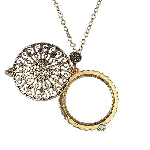 Ayudas para la visión Collar Pendiente de la joyería 5X for el Anciano Leyendo Señora Collar Colgante de Oro de Mano Lupa Artículos de papelería para Oficina