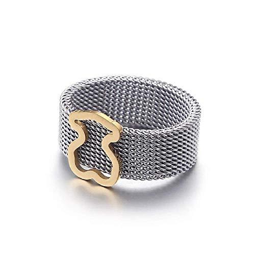 Anillo de acero de titanio de oso anillo de malla anillo ani