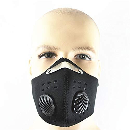 KANGLE Aktivkohlemaske, atmungsaktiv, Staubmaske, Atemschutzmaske, wiederverwendbar, Halbmaske für Laufen, Radfahren, Outdoor, Unisex, Schwarz