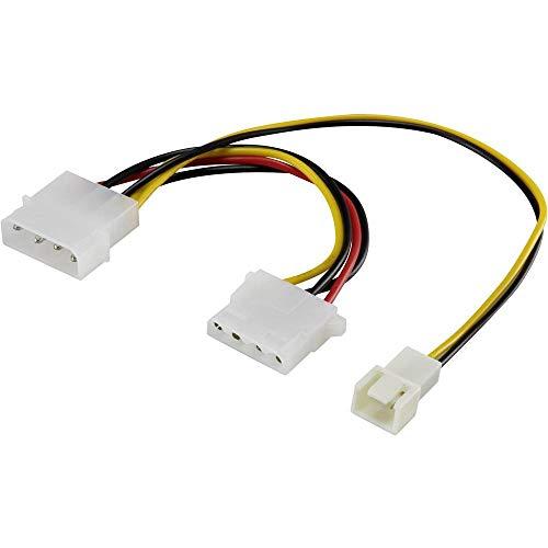 PC-Lüfter Y-Kabel [1x PC-Lüfter Stecker 3pol. - 1x IDE-Strom-Buchse 4pol, IDE-Strom-Stecker 4pol.] 20.00 cm Schwarz, R