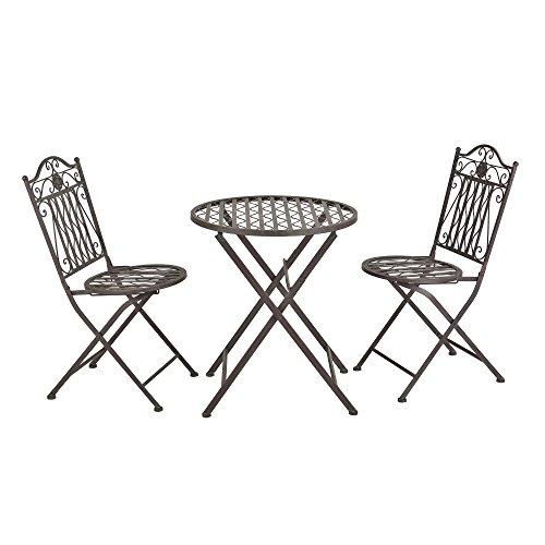 [en.casa] Bistro Set Biella Balkonset 3-TLG. Tisch 2 Stühle Essgruppe Sitzgruppe Gartenmöbel Stahl Dunkelgrün mit hellgrauer Patina