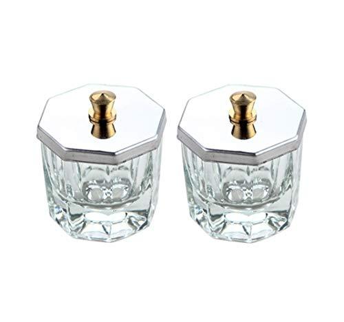 2 Stück Mini-Dappenschalen aus Glas mit Edelstahldeckel, klare Kristallglas-Schüssel, Nagelkunst,...