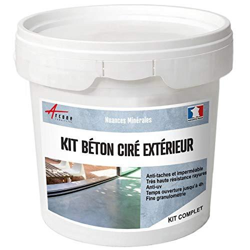 Béton Ciré Extérieur Pour Sol Mur Terrasse Escalier Enduit Décoratif Minéral En Kit Aronia Noir Kit 2 M² 2 Couches Arcane Industries