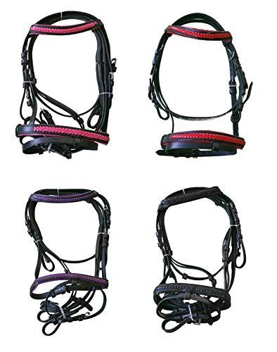 netproshop Englisch Leder Trense mit Anti-Rutsch-Zügeln Falabella/Mini Shetty, Groesse:Shetty, Farbe:Schwarz