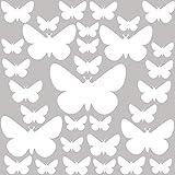 PREMYO 32 Schmetterlinge Wandsticker Kinderzimmer Mädchen Jungen - Wandtattoo - Wandaufkleber Selbstklebend Weiß