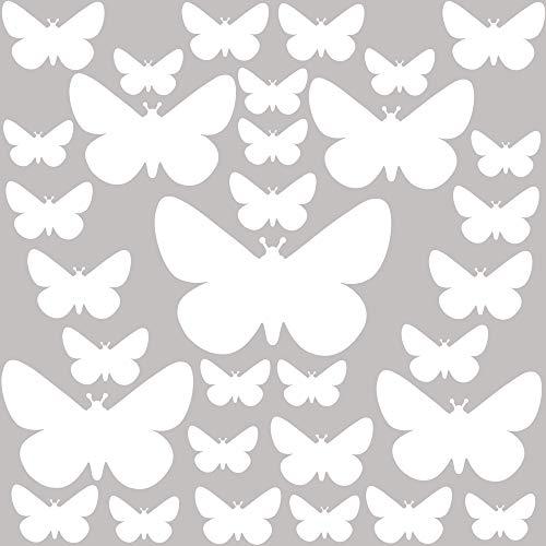 PREMYO 32 Mariposas Pegatinas Pared Infantil - Vinilos Decorativos Habitación Bebé Niños - Fácil de Poner Blanco
