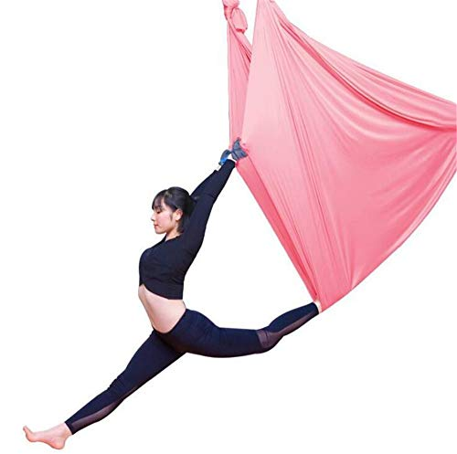 Hamaca De Yoga Aérea - 5 M, Elástico Duradero, Hamaca De Yoga Aérea, Columpio, Accesorio De Entrenamiento Físico, Ejercicios De Inversión, Flexibilidad Mejorada Y Fuerza Central,Rosado