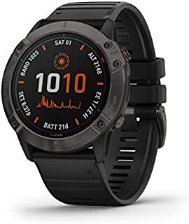 Garmin GM-010-02157-55 Fenix 6X Pro Solar DLC Watch with Band, Titanium Carbon Gray/Black