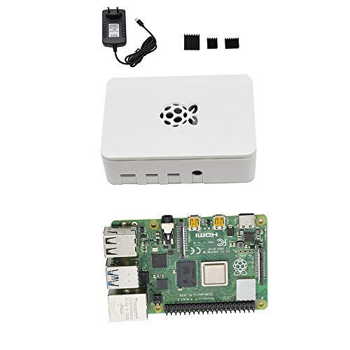 CUHAWUDBA para Raspberry Pi 4 Modelo B Estuche ABS 4G RAM Kit de Bricolaje con Disipador Negro 5V 3A Adaptador de Corriente para Raspberry PI 4B (Enchufe de EU) Blanco