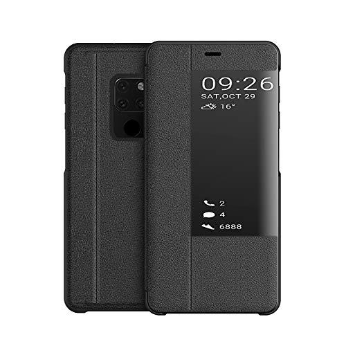 KANSI kompatibel mit Huawei Mate 20X Hülle, Smart View Flip Hülle + Panzerglas - Schwarz