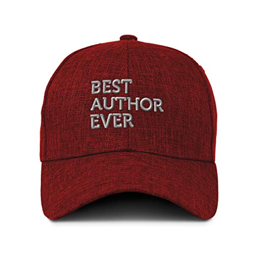 Speedy Pros Baseball Cap Best Author Ever Embroidery Acrylic Casual Hats for Men & Women Strap Closure Red Design Only