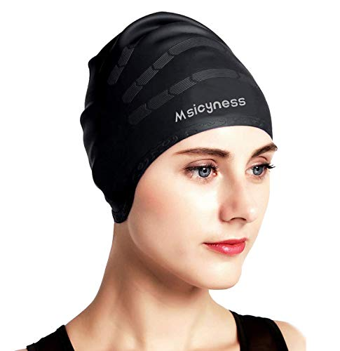 Msicyness Swim Cap for Men Women Silicone Stretchy Swimming Pool Caps Unisex Adult Size (Cover Ears...