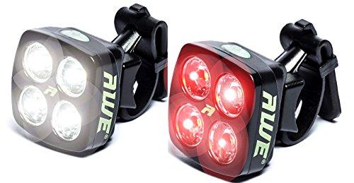 AWE AWEBlitz 8 LED's USB Ricaricabile anteriore della bicicletta e della luce posteriore set 120 lumen