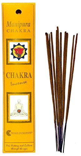 Fiore D'Oriente Manipura Chakra Incense, Bacchette profumate fatte a mano, Giallo, 20 bastoncini (40 gr)