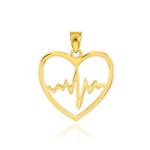 10k Yellow Gold Lifeline Pulse Heartbeat Open Heart Charm Pendant 10k Gold Medical Pendant