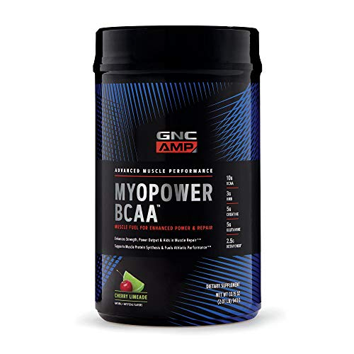 GNC AMP MYOPOWER BCAA - Cherry Limeade, 20 Servings, Supports Muscle Protein Synthesis and Fuels Performance