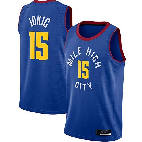 WANZON Camiseta de baloncesto estilo retro Swingman Edition #15 Away Jersey de baloncesto transpirable de manga corta para hombre, color azul
