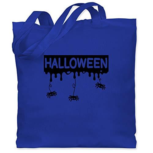 Shirtracer Halloween - Halloween mit Spinnen - schwarz - Unisize - Royalblau - Spinne - WM101 - Stoffbeutel aus Baumwolle Jutebeutel lange Henkel