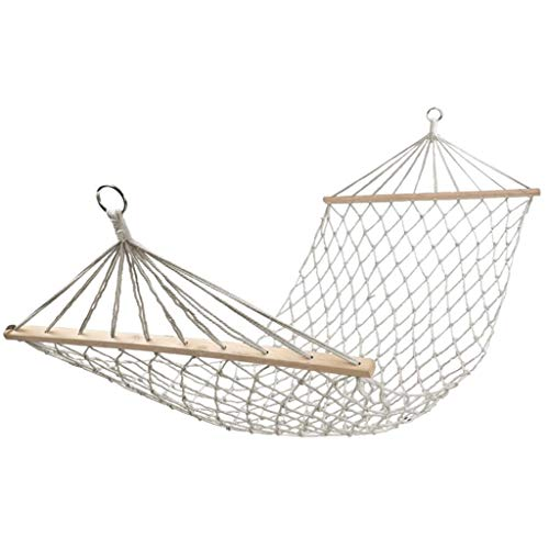 WYJRF Hammock, Safe Anti-rollover Mesh Hanging Chair, Home Canvas Comfortable Swing, Picnic Equipment, Can Load 150-250KG (Color : Beige white, Size : 6.6 *(outdoor)