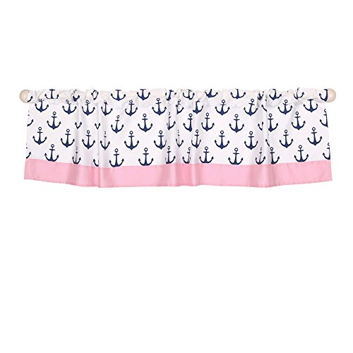 Pink and Navy Nautical Window Valance by The Peanut Shell - 100% Cotton Sateen