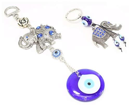Set of 2~ Turkish Blue Evil Eye (Nazar) Elephant Flower Amulet + Elephant Key Ring Chain Blessing Protection Religious Charm Birthday Blessing Congratulatory Gift US Seller
