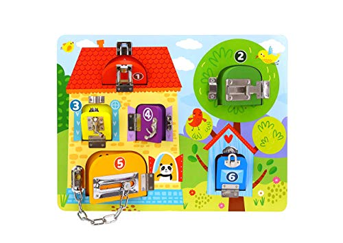 woody treasures Wooden Toys Busy Board Latches - Sensory Boards Ages 3 and Up – Latch Board for Toddlers – Educational Learning Toy for Kids – Fine Motor and Cognitive Skills Development