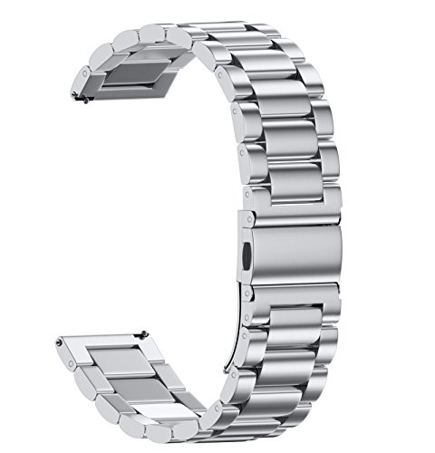NotoCity Stainless Steel Metal Watch Band for Huawei Watch,18mm Watch Band for whithings Activite/Steel/Pop Watch,Quick Release Replacement Watch Strap for Mens Womens-18mm Silver
