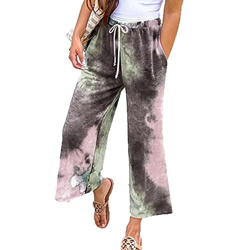 Tie-Dye Lace-Up Casual Fashion Cropped Pantalones Acampanados Mujer