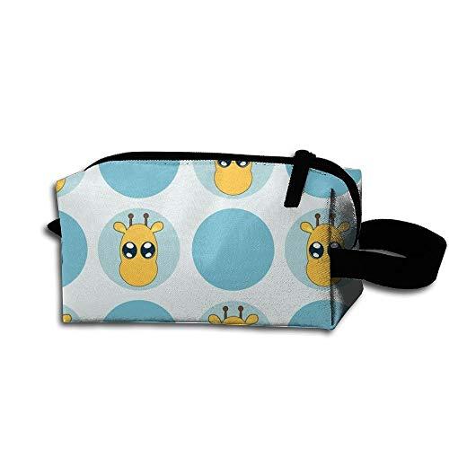 Travel Makeup Blue Small Giraffe Dots Beautiful Waterproof Cosmetic Bag Quick Makeup Bag Pencil Case