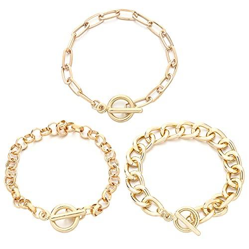 Hombres de acero inoxidable simple grueso oro pareja regalos cadena multicapa Punk cadena pulseras pulseras brazaletes joyería(6)