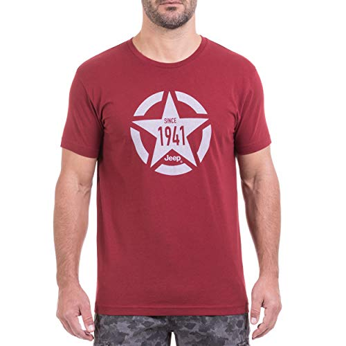Jeep T-Shirt pour Homme M Burgundy/Vapor Blue