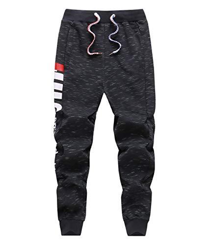 LAUSONS Junge Streetwear Sporthose Kinder Jogginghose Sweathosen, Schwarz, Größe 150/10-11 Jahre