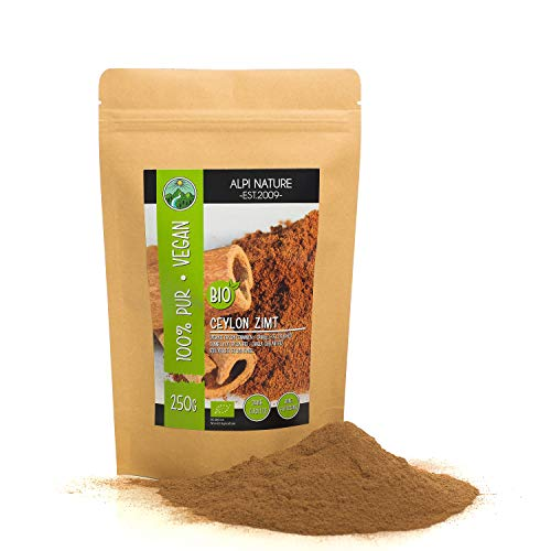 Cannella di Ceylon biologica (250g), cannella in polvere da coltivazione biologica certificata, senza glutine, senza lattosio, testata in laboratorio, vegana, cannella 100% naturale
