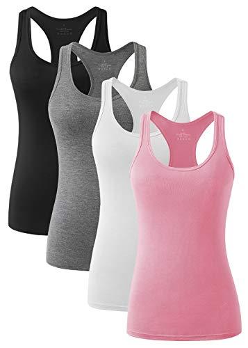 Vislivin Lot de 4 débardeurs de sport pour femme - Dos nageur et yoga - Respirants - - 36 FR/38 FR