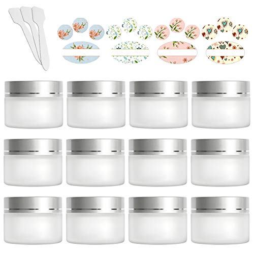 12 Pack 30ml 1 oz Matte Clear Glass Jars with Silver Lids & Inner Liners,Round Containers Travel Jars for Cosmetics, Eye Shadow, Makeup and Face cream Lotion.