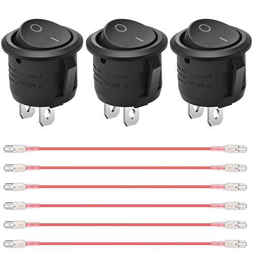 SUKUDON - Interruptor basculante con 6 cables rojos, dos pines de prueba de voltaje, redondo, negro, 10 A/125 V, 6 A/250 V de encendido y apagado