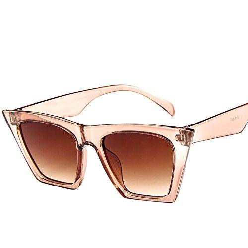 Topgrowth Occhiali da Sole Oversize Donna Signora Occhio di Gatto UV 400 Vintage Retro Cat Eye Unisex Sunglasses (Beige)