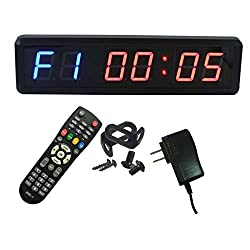 Ledgital Gym Timer with Remote 1.8 Crossfit Clock for Home Gym   13.4 Wx4 H Wall Mount Countdown/up Timer for Gym  US Plug   Blue+Red Color