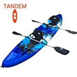 BKC TK219 12.2' Tandem Fishing Kayak W/Soft Padded Seats, Paddles,6 Rod Holders Included 2-3 Person Angler Kayak