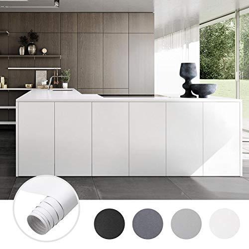iKINLO Möbelfolie Matt Folie Klebefolie Vinyl selbstklebend Dekofolie Küchenschrank PVC Aufkleber für Möbel Küche Schrank Tische Wand, Verdickte Weiß 61 x 500 cm