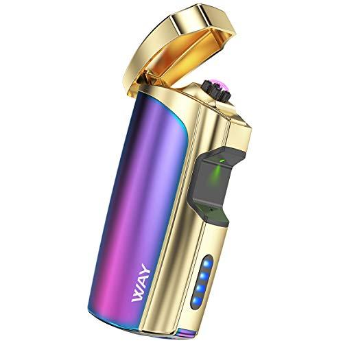 VVAY Dual Lichtbogen Flammenloses USB Aufladbares E-Feuerzeug, Windfest Plasma Sturmfeuerzeug Wiederaufladbar Elektrisches Arc Elektro Feuerzeug