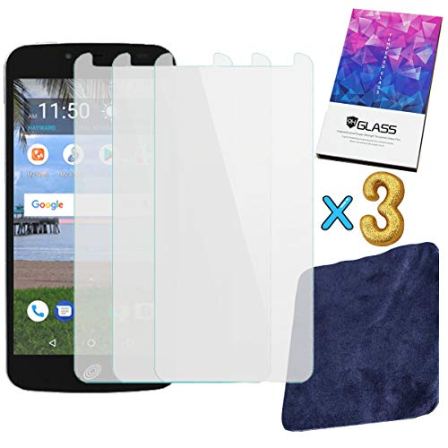 """3-Pack 2.5D Tempered Glass Screen Protector for TracFone Unimax UMX U504TL 5"""" + Premium Suede Soft Cloth That can be reused"""