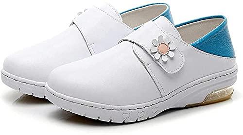 HTYY Zapatos de Seguridad para Mujeres Entrenadores Zapatos de Trabajo Ligeros Transpirables Industriales Resbalón Resbalón en Zapatos de Cuidado de la Salud de Cuero Blanco 33-41-33_Azul